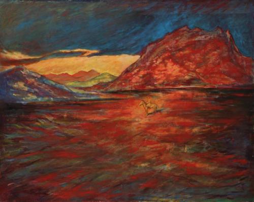 风吹过红色山崖